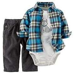 Carter's Newborn & Infant Boy's Bodysuit  Shirt & Jeans - Plaid