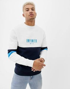 Shop the latest River Island sweatshirt with NYC color block in white trends with ASOS! Free delivery and returns (Ts&Cs apply), order today! Zip Up Hoodies, Mens Sweatshirts, Lacoste, Boys Shirts, T Shirts For Women, New T Shirt Design, Stylish Shirts, Looks Cool, Casual Tops