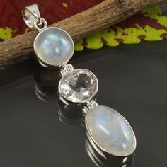 Natural RAINBOW MOONSTONE & CRYSTAL QUARTZ Gemstone Pendant 925 Sterling Silver #Unbranded #Pendant