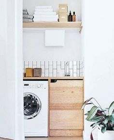 Apartment Therapy Small Spaces Living Room: Small Laundry Room Remodeling and Storage Ideas Small Laundry Rooms, Laundry Room Organization, Laundry In Bathroom, Laundry Nook, Laundry Closet, Compact Laundry, Laundry Cupboard, Hidden Laundry, Bench In Bathroom