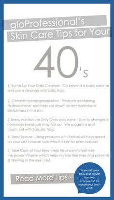 READ: gloProfessional's Skin Care Tips for Your 40's! & Get a professional facial http://www.cspaboston.com/