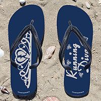 Running Diva on Navy Flip Flops - Kick back after a run with these great flip flops! Fun and functional flip flops for all runners.