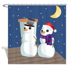 Claus on the rooftop - holiday shower curtain Holiday Shower Curtains, Rooftop, Special Day, Snowman, Halloween, Design, Rooftops, Snowmen