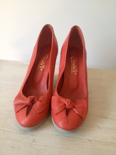 vintage cherry red leather bows candie's wedge heels
