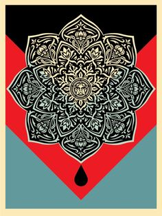 """Shepard Fairey Obey screen print titled """"Mandala Red"""" from a sold out edition of Yarn Bombing, Shepard Fairey Art, Shepard Fairy, Street Art, Obey Art, Red Sign, Marquesan Tattoos, Political Art, Mandala Print"""