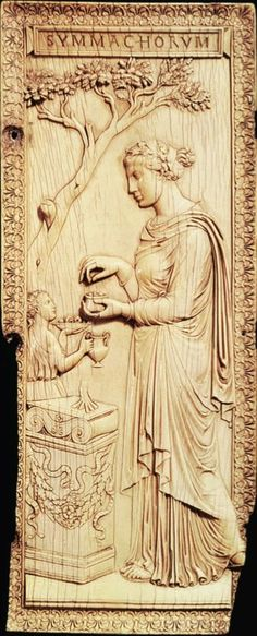 [Unknown,Woman sacrificing at an altar, right leaf of the diptych of the Nicomachi and the Symmachi, ivory, ca. 400, Late Antiquity] This is a classical style ivory carving. As you know this is a diptych, which mean there are two leaf. One of the pair define commemorate either the marriage of members in the powerful Roman family or two prominent male members of the families. Nonetheless, the important message is the faith from Nicomachi and the Symmachi toward the old pagan gods.