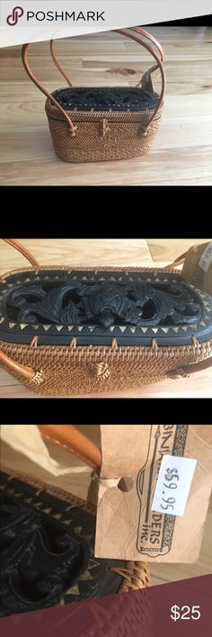 Charming basket purse. Adorable basket purse with details. Brown and black , brand new. NWT. No trades. Bags Mini Bags