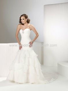 2011 Sirène-Amoureux robe de mariée blanche-moderne en organza avec traîne Chapelle - €130.62 : WeddingDressesFR.com, Acheter des robes de m...