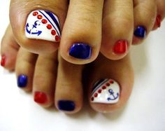 I have a collection of of July toe nail art designs & ideas of these Fourth of July nails are so charming that will give you plenty of nail art ideas to choose from, for the big celebration of of July. Toenail Art Designs, Pedicure Designs, Manicure E Pedicure, Pedicure Ideas, Pedicure Colors, Blue Pedicure, Toe Designs, Nail Designs For Toes, Pretty Toe Nails