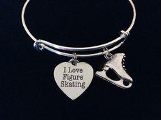 I Love Figure Skating Expandable Charm Bracelet Silver Bangle >>> Additional info  : Handmade Gifts