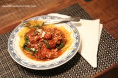 Spaghetti Squash with ground turkey spinach and mushroom sauce on spaghetti squash gluten free low carb paleo primal healthy recipe low calorie pasta Christy Brissette best media dietitian nutrition expert