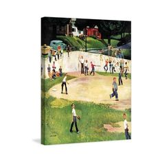 Marmont Hill Sandlot Homerun Fine art canvas print from the Marmont ($163) ❤ liked on Polyvore featuring home, home decor, wall art, canvas art, wall decor, sports wall art, vintage home decor, vintage wall art and vintage sports wall art