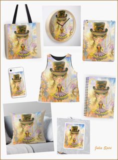 """""""Lulu Cat Girl"""" Bags, ClockS, Cases, Pillows, Stickers, Journal, Clothes and more..."""