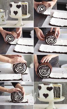 How to Make Gorgeous Chocolate Stripe Cake | www.FabArtDIY.com LIKE Us on Facebook ==> https://www.facebook.com/FabArtDIY