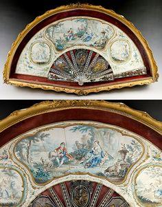 18th century fan in a display box. C1760-1770s probably Dutch