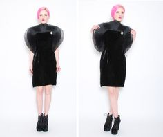 80s Black Crushed Velvet Nolan Miller Dress by POMPOMCLOTHING