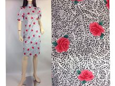 Floating Rose Floral Print Shift Dress / Puff by sixcatsfunVINTAGE