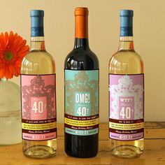 3 Birthday Wine Labels by smallcreatures on Etsy, $37.00