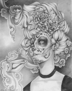 Sugar Skull Woman Art | Sugar Skull Drawings