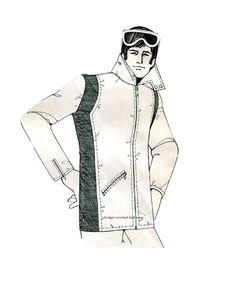 d5357e07f7 1970s MENS RACING PARKA Pattern Ski Jacket Parka Winter Fall Outdoor Parka  Daisy Kingdom 20 Vintage Mens Sewing Patterns Size Chest 30 - 38