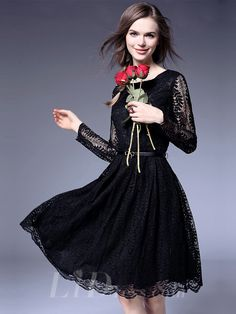 Illusion Long Sleeves Short Lace Dress