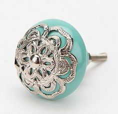 Medallion Knob, Turquoise eclectic knobs from Urban Outfitters Door Knobs And Knockers, Knobs And Handles, Knobs And Pulls, Drawer Pulls, Door Handles, Door Pulls, Kitchen Knobs, Cupboard Knobs, Dresser Knobs