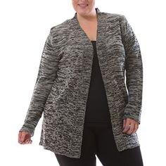 16228XRBLK2X Womens Plus Size Cardigan Slip On Long Sleeve Marled Sweater >>> Visit the image link more details.