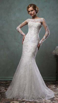Amelia Sposa 2016 Wedding Dresses Sheer Lace Sleeves Bateau Neckline Beautiful E