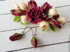 Купить Заколка с розами - бордовый, марсала, экрю, заколка с цветами, заколка с розами, красивая заколка