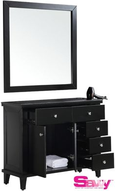 Savvy  SAV-402 Benjamin 6 Drawer Shaker Salon Styling Station & Mirror. Comes in black or white. Perfect for your home salon.