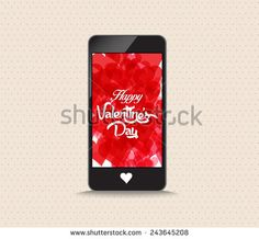 Happy valentines day with hearts red color phone
