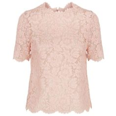 Valentino Lace Top (17.020.875 IDR) ❤ liked on Polyvore featuring tops, floral top, lace top, scalloped top, flower print top and pink floral top