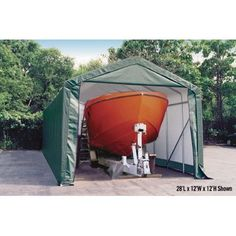 ShelterLogic 14-Ft.W Peak-Style Instant Garage - Green, 20ft.L x 14ft.W x 12ft.H, 2 3/8in. Frame, Model# 95351 by ShelterLogic. $1699.99. All steel 2 3/8in. frame with Dupont thermoset baked on powder-coat finish will not chip, peel, rust or corrode. ShelterLock stabilizers ensure stability and durability. Bolt together hardware at every roof joint connection. Easy Slide Cross Rail system locks down and squares up frame. New, improved 6 rib/4-ft. spacing delivers ul...