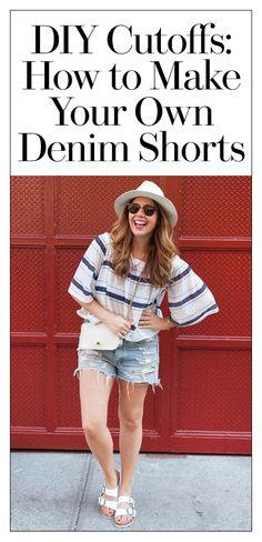 Cool Distressed Denim Shorts From summer DIY-Distressed-Denim Diy Cutoff Shorts, Mom Jeans Shorts, Denim Cutoffs, Distressed Denim Shorts, Jean Shorts, Dressy Outfits, Mode Outfits, Summer Outfits, Summer Wear