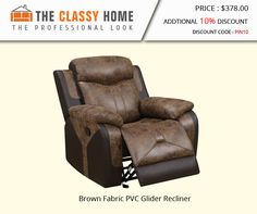 Brown Fabric PVC Glider Recliner