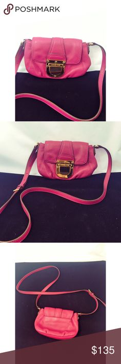 "Fuchsia Michael Kors Crossbody Michael Kors crossbody in gorgeous fuchsia color with gold logo hardware. Used with minimum signs of wear. Size 9""X 6"" X 2.5"" strap drop 24"" - 30"" adjustable. No stains on interior in perfect condition. Michael Kors Bags Crossbody Bags"