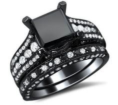 3.71ct Black Princess Cut Diamond Engagement Ring Wedding Band Set 18k Black Gold
