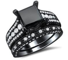 3.71ct Black Princess Cut Diamond Engagement Ring Wedding Band Set 18k Black Gold
