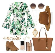 Outfit idea for summer: Palm tree print long sleeve mini dress, brown sandals, mint green watch, highlighter, blue sunglasses Blue Sunglasses, College Fashion, Long Sleeve Mini Dress, Colourful Outfits, Spring Outfits, Polyvore Fashion, Casual Outfits, Girly Outfits, What To Wear