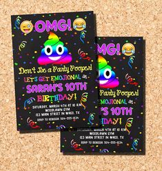 """Hilariously cute Emoji birthday invitation featuring a chalkboard and confetti background, two emoji faces and a smiling rainbow poop emoji and the text """"Don't be a party pooper!"""" Perfect for your child's Emoji theme birthday party! Emoji Invitations, Emoji Birthday Invitations, Poop Emoji Invitations, Rainbow Poop Emoji Invitations, Party Pooper Invitations, Digital Printable."""