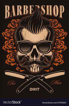 Barber skull with roses Royalty Free Vector Image , Free Vector Art, Free Vector Images, Barber Pictures, Barber King, Rosas Vector, Barber Logo, Warrior Logo, Barber Haircuts, Small Cafe Design
