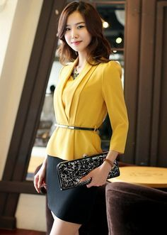 Korean Fashion OL Temperament Stitching Yellow Dress (With Belt)