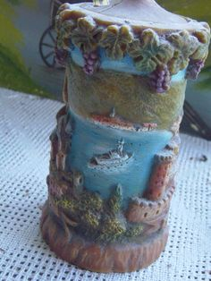 German relief candle hand painted by Johann by pottsvillemuseum, $20.00
