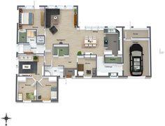 ca 160 kvm + garasje Future House, My House, Sims 4 House Design, Sims 4 Houses, House Layouts, House Floor Plans, Building A House, Modern Design, Sweet Home