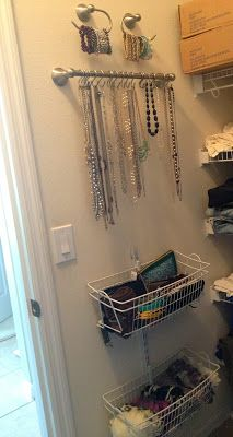 repurposing bathroom hardware to hang up necklaces & bracelets, and then using baskets for clutches & scarves.