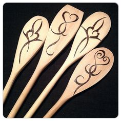 Custom Wood Burned Spoons, Tribal Hearts, set of 4