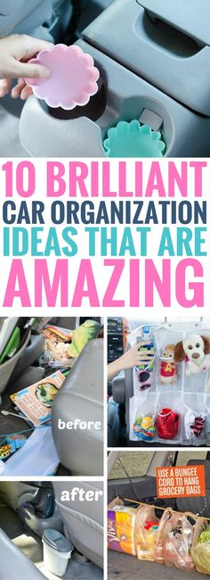 These Car Organization Hacks are the BEST ever! Fantastic tips to make sure your car stays organized, clean and ready to go anywhere. Your car interior will never be dirty again!