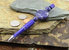 Purple Statement Pen with Glass Beads & Marbled Colors, Refillable Blue Ink Pen, Journalist Writers Pen, Graduation, College, Teacher Gift