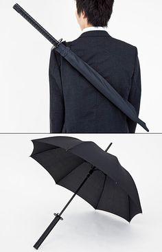 Samurai Umbrella designed by the award-winning design studio Materious, and manufactured by Kikkerland. http://www.kikkerland.com/products/umbrella-samurai/