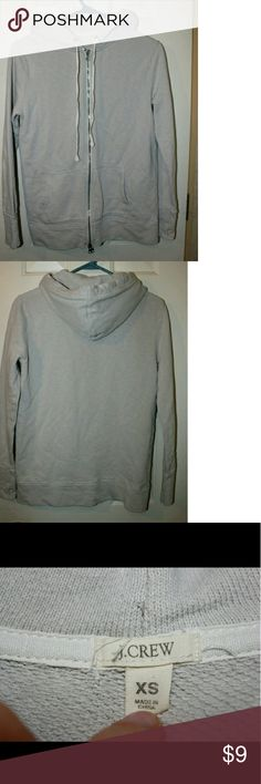 J. Crew Light Gray / Off White Zip Up Hoodie It has two zipper pulls & the strings by the hood are thin, not thick like most hoodies. It was repaired on the front as shown in the last pic J. Crew Tops Sweatshirts & Hoodies